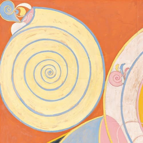Large yellow spiral pattern - from the top left section of Hilma af Klint's painting called The 10 Largest -- painted in 1907.