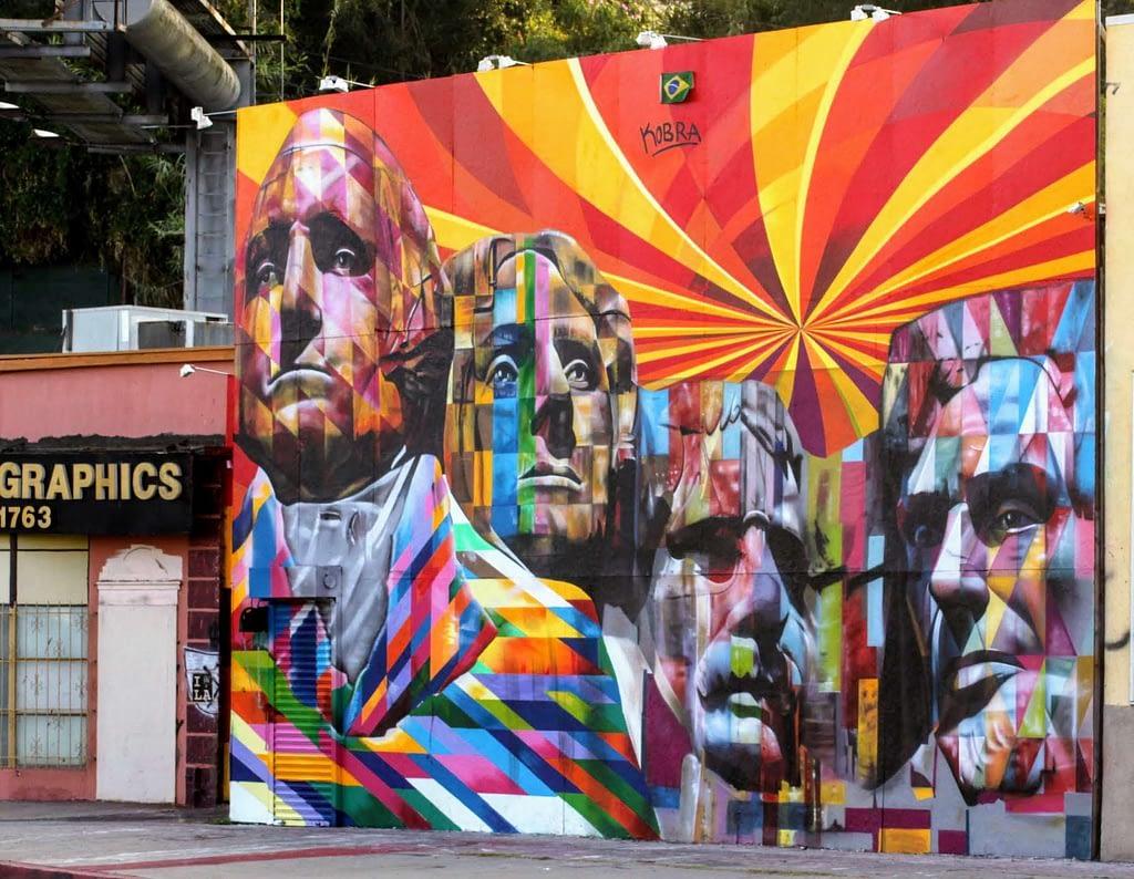 Colorful street art mural of Mt. Rushmore by Eduardo Kobra